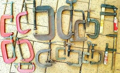 AU65 • Buy 16 Vintage Or Used Metal Clamps Woodworking : G-clamps  F-Clamps  Jaw Clamps