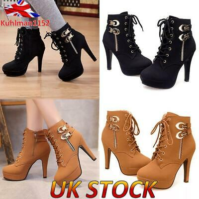 Women Sexy Party Shoes Ladies High Heel Platform Lace Up Zip Boots Shoes Size UK • 24.39£
