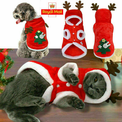 Cat Pet Santa Costume Dog Christmas Small Coat Outfit Clothes Hoodie Jumper Xmas • 4.95£