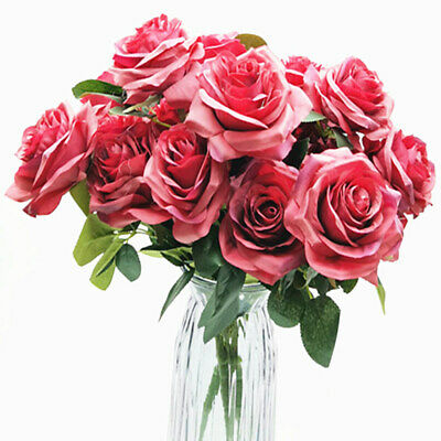 10 Heads Bouquet Silk Rose Artificial Flowers Fake Buch Wedding Home Party Decor • 6.93£