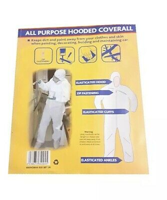 £8.99 • Buy Coverall White Hood Boiler Suit Painters Protective Overall Painting Decorating