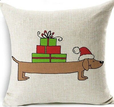 Christmas Gifts DACHSHUND Doxie DOG LINEN COTTON Presents CUSHION COVER, UK Sale • 4.29£
