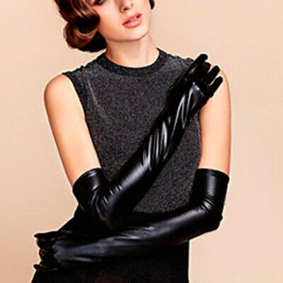 1 Pair Womens Party Gloves Long Elbow Mittens Latex PU-Leather Opera Bridal • 4.87£