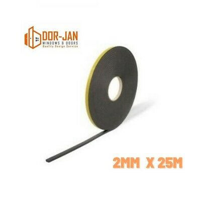 2mm X 25m Double Sided Foam Tape -Black- Glazing Tape - Mounting/Craft Tape  • 4.49£