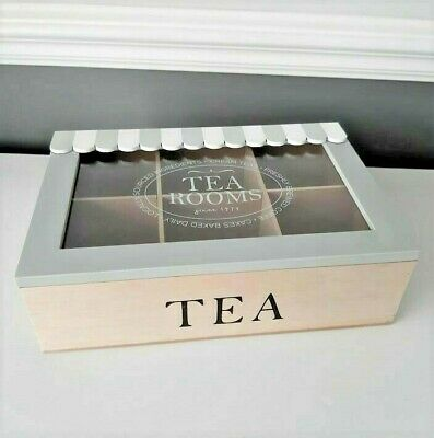 £8.99 • Buy Wooden Canopy Tea Box 6 Compartment Rustic Kitchen Storage Display Vintage Chest