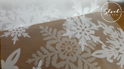 Christmas White FROSTED Snowflakes Cellophane 1M-5M 80cm Wide Florist Wrap Xmas • 3.49£