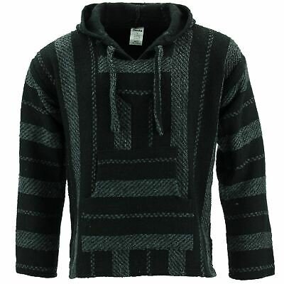 Mexican Baja Jerga Hoody Siesta Hoody Surf Hippy  Drug Rug Jumper Black Grey • 22.90£