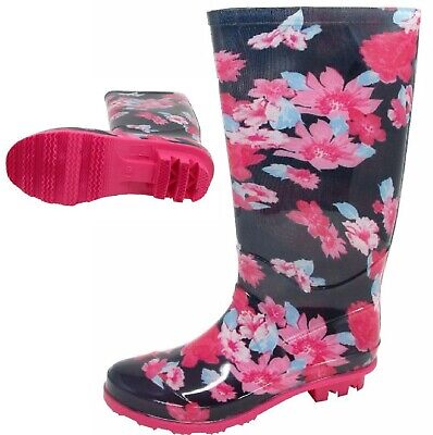 Kids Pink Flower Girls Wellies Womens Print Wellington Adults Boots Size 13-6 Uk • 10.99£