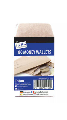 80 Money Envelopes Wallets Brown Wages Work Office School Dinner Trips Cash Coin • 1.97£
