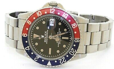 $ CDN39100.71 • Buy Rolex 1960 GMT 1675 Pepsi Bezel Stainless Steel Automatic Watch With Patina Dial