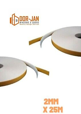 2mm X 25m Double Sided Foam Tape -WHITE- Glazing Tape - Mounting/Craft Tape  • 4.49£
