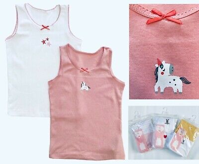£3.99 • Buy BNWT Mothercare Girls Pink White 2 Pack Multi Pack Unicorn Bunny Cotton Vests