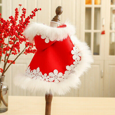 Pet Dog Cat Christmas Clothes Warm Xmas Costume Outfits Red Cloak Puppy Cat Coat • 9.95£