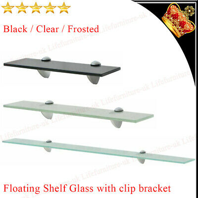 £13.09 • Buy Wall Mounted Glass Storage Shelf  Panel Sheet Display Rack Clear/Frosted Choices