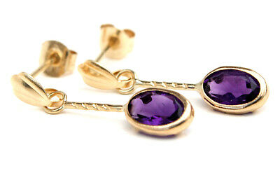 9ct Gold Amethyst Oval Drop Earrings Gift Boxed Made In UK  • 36.99£