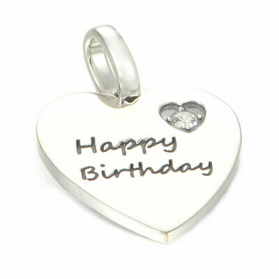 Happy Birthday Heart Charm Or Pendant - S925 Sterling Silver  • 9.95£