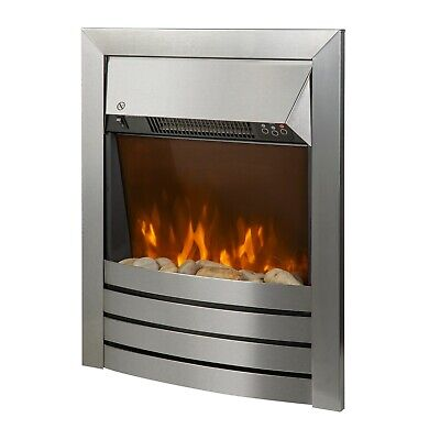 Zanussi ZEFIST1001SS 2kW Electric Inset Fire Heater, Stainless Steel, Grade A+ • 89.97£