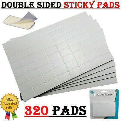 £3.09 • Buy 320 In 5 Sheets White Sticky Adhesive Double Sided Pads Pre Cut Foam 12mm X 19mm