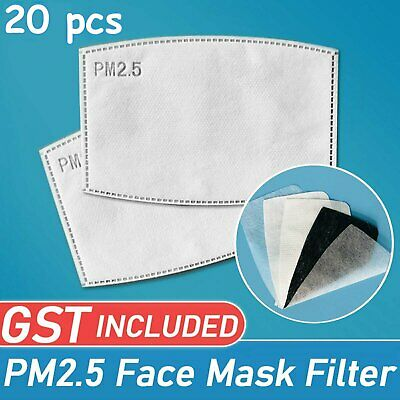 AU9.99 • Buy 20pcs PM2.5 Face Mask Filter For Adult Anti Pollution Filters Pad 5 Layers AU