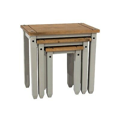 Premium Corona Solid Pine Grey  Nest Of Three Tables | Occasional Tables • 79.99£