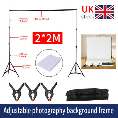 2×2m Studio Background Support Stand Product Shooting Backdrop Frame Kit UK • 21.29£