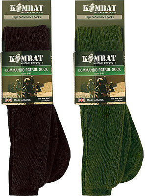 Military Combat Patrol Socks Thermal Commando Olive Green Black Size 4 To 13  • 6.95£