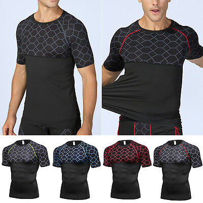 Mens Muscle Base Layer Compression Sports Gym Fitness Tops Short Sleeve T-Shirt • 10.16£