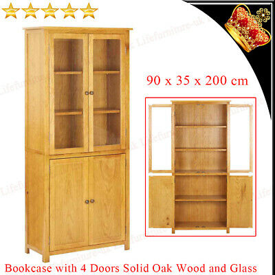 Solid Oak Wood Bookcase With 4 Doors And Glass Wooden Book Cabinet 90x35x200cm • 257.09£