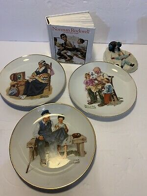 $ CDN22.60 • Buy Norman Rockwell Lot. Book, Figurine And 3 Plates
