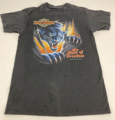 $ CDN101.62 • Buy 1992 Harley Davidson 3D Emblem Men's Roar Of Freedom Panther 50/50 T-shirt Small