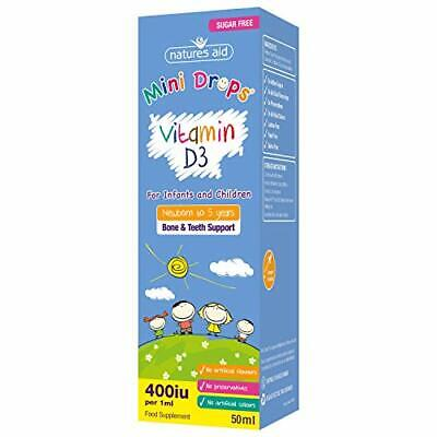 Natures Aid Vitamin D3 Mini Drops For Infants And Children, Sugar Free, 50 Ml • 5.62£