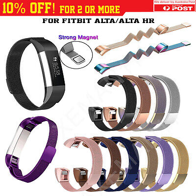 AU11.95 • Buy Fitbit Alta/Alta HR Metal Stainless Steel Magnetic Replacement Band Spare Strap