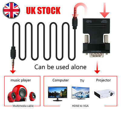 £3.53 • Buy HDMI Female To VGA Male With Audio Output Cable Converter Adapter Lead 1080P Kit