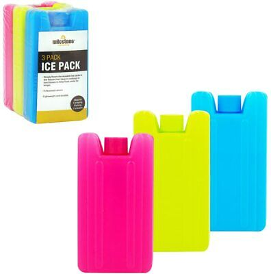 Milestone Camping Mini Ice Cooler Blocks - Pack Of 3 - Pink/blue/lime Green • 13.99£