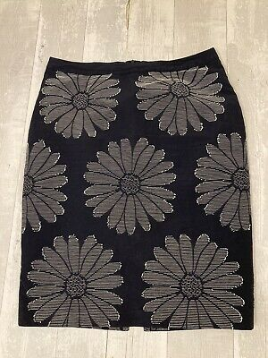 Boden, Size 16, Blue Embroidered Flower Skirt, Fully Lined, Cotton Blend • 12.95£