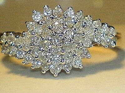 £495 • Buy 9ct Gold Hallmarked 1.00 Carat  Real Diamond Cluster Engagement Ring Size  R