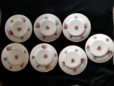 SAMPSON BRIDGWOOD & SON  FLORAL DESIGN7 CAKE SIDE PLATES 18cm VINTAGE 1930s • 5.99£