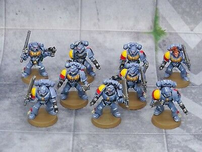 40k Space Marines Space Wolves TACTICAL SQUAD 9 Figures Painted GW 73270 • 12.99£