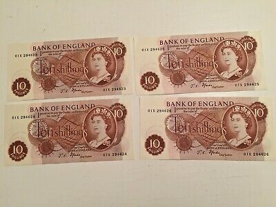 Bank Of England Ten-shilling Notes X 4 Uncirculated & Consecutive [JS Fforde] • 50£