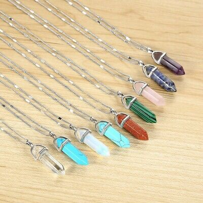Natural Quartz Chakra Crystal Healing Point Cut Gemstone Pendant Reiki Necklace • 1.50£