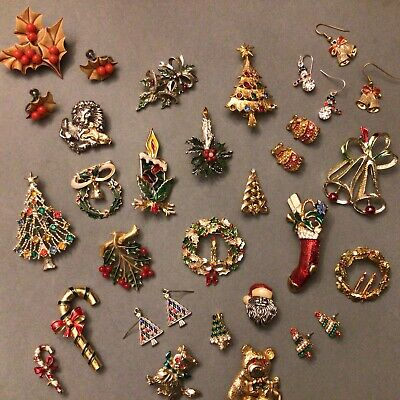 $ CDN56.80 • Buy 26 PC HUGE LOT VINTAGE COSTUME ESTATE JEWELRY CHRISTMAS BROOCHES PINS Gerry's