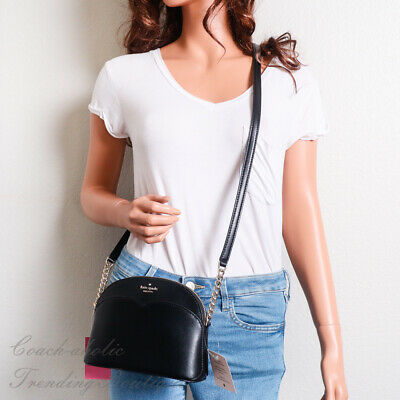 $ CDN104.21 • Buy NWT Kate Spade Payton Small Dome Crossbody In Black Leather