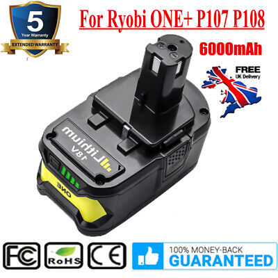 18Volt 6000mAh Battery Replacement For Ryobi ONE+ P107 P108 P109 P102 P103 P104 • 24.99£