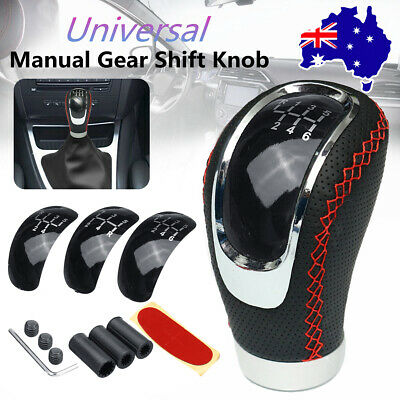 AU18.84 • Buy 5 6 Speed Car Manual Gear Shift Knob Shifter Lever Red Stitch PU Leather + 3 Cap
