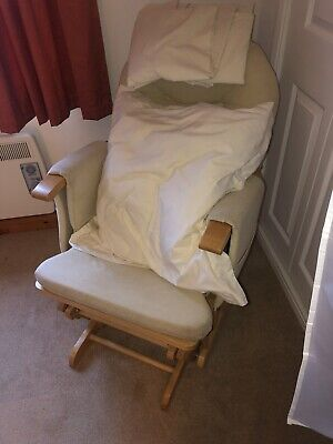 Glider Maternity Nursing Chair & Foot Stool Wood Crea Collection Instow 5/6 Dec • 35£