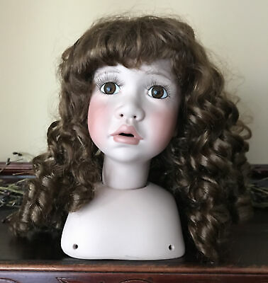 "$ CDN15.71 • Buy Extra Large 7"" Porcelain Swivel Doll Head Bust Parts For 25"" Dolls Vintage"