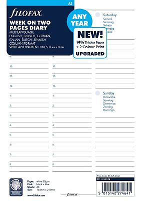 Filofax A5 Week To View Any Year Undated Diary • 28.99£