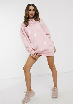 $ CDN35.05 • Buy Missguided Playboy All Over Bunny Graphic Hoodie Dress In Pink RRP £40