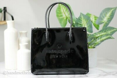 $ CDN162.33 • Buy Kate Spade Trista Patent Leather Black Shopper Tote Crossbody Handbag Purse