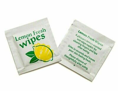 Lemon Scented Fresh Wet Hand Wipes Towel Napkin Individually Wrapped (x10) • 1.29£